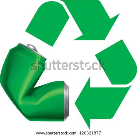 Green recycle logo icon with crushed can vector visual . Drawn with mesh tool. Fully adjustable & scalable