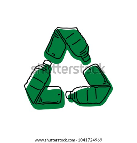 green recycle logo made of used bottle vector illustration sketch hand drawn with black lines isolated on white background