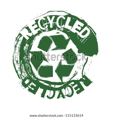 green recycled seal over white background. vector illustration