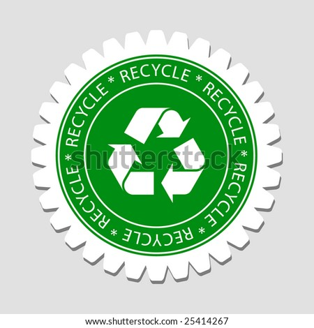 Green Recycling Sign Label