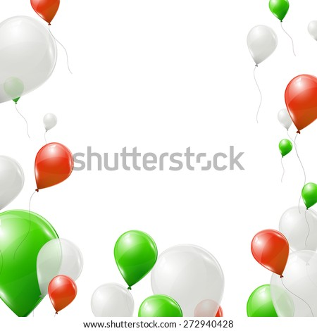 green  red and white balloons