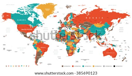 Green Red Yellow Brown World Map - borders, countries and cities - illustration Image contains next layers: - land contours - country and land names - city names - water object names
