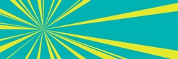Green retro banner with yellow sun's rays , pop art banner with sunbeam, vector illustration