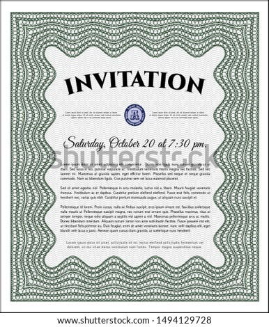 Green Retro invitation. With quality background. Customizable, Easy to edit and change colors. Perfect design.