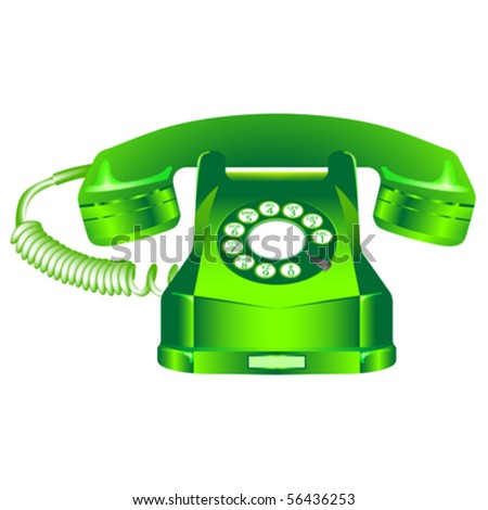 green retro telephone against white background, abstract vector art illustration