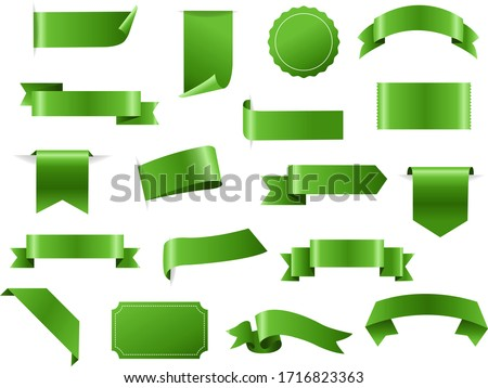 Green Ribbon And Tags Isolated White Background With Gradient Mesh, Vector Illustration
