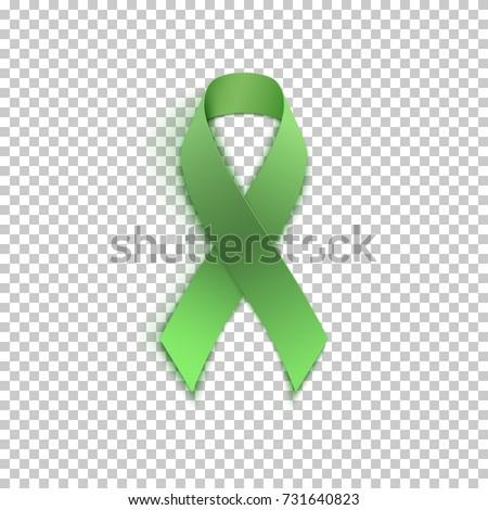 Green ribbon on transparent background. Vector illustration.