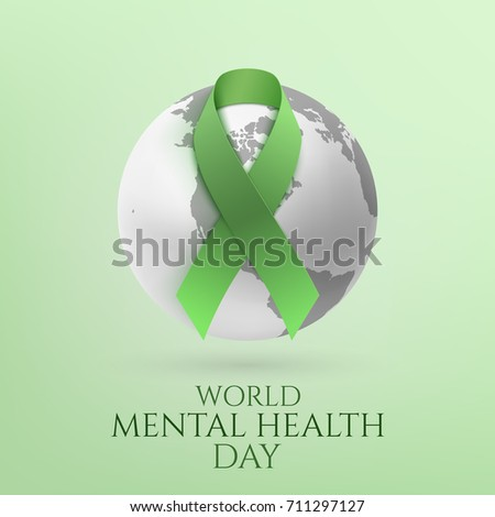Green ribbon with monochrome earth icon isolated on green background. World mental health day poster or brochure template. Vector illustration.