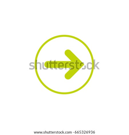 Green Right Arrow in green circle icon. Isolated on white. Continue icon.  Next sign. East arrow.