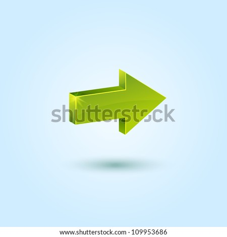 Green right arrow symbol isolated on blue background. This vector icon is fully editable.