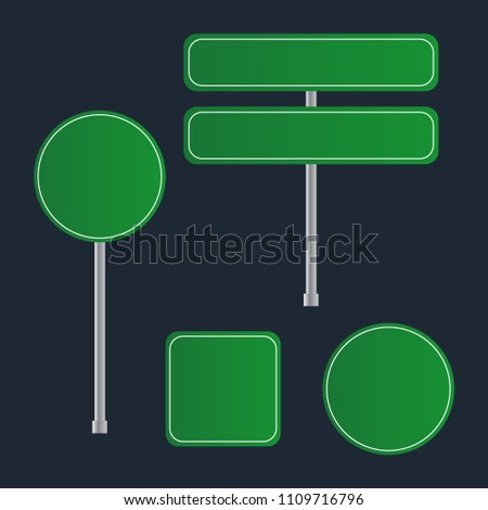 Green Road Sign Set. Sign street. Road green vector sign. Arrow blank sign #1109716796