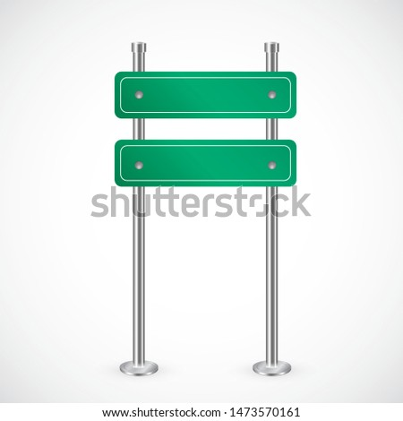 Green road sign vector isolated on white. Copy space for advertising, announcements. American highway, directions arrow or destination signboards. Typical metallic plate, frame, guidance information.