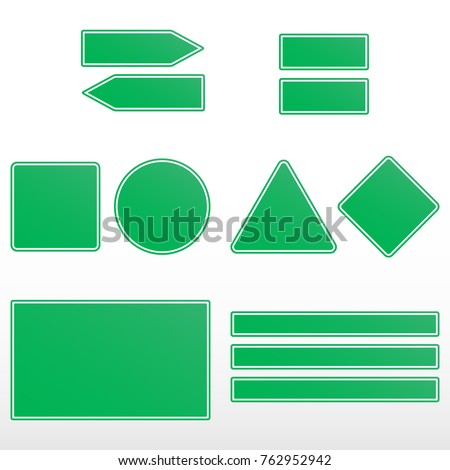 Green road signs. Realistic road sign set. Road sign template for text. #762952942