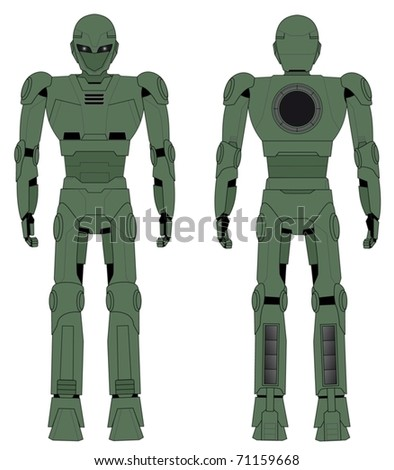 green robot drawing in two