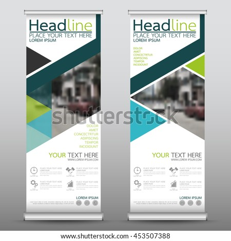 Green roll up business banner vertical template vector design, advertising presentation abstract geometric background, modern publication display and flag-banner, layout in rectangle size. #453507388