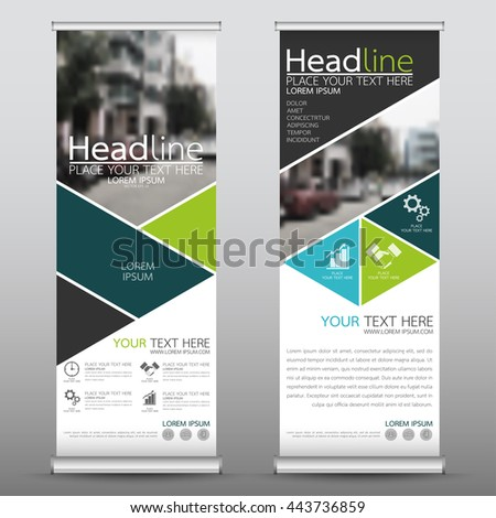Green roll up business brochure flyer banner design template vector, leaflet cover presentation abstract geometric background, modern publication x-banner and flag-banner, layout in rectangle size.