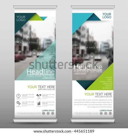 Green roll up business brochure flyer banner design vertical template vector, cover presentation abstract geometric background, modern publication x-banner and flag-banner, layout in rectangle size. #445651189