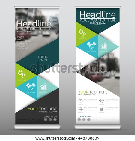 Green roll up business brochure flyer banner design vertical template vector, cover presentation abstract geometric background, modern publication x-banner and flag-banner, layout in rectangle size. #448738639