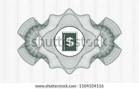 Green rosette. Linear Illustration. with book with money symbol inside icon inside