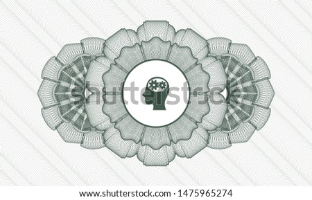 Green rosette (money style emblem) with head with gears inside icon inside