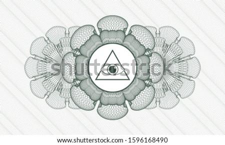 Green rosette or money style emblem with illuminati pyramid icon inside