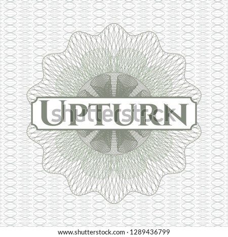Green rosette or money style emblem with text Upturn inside