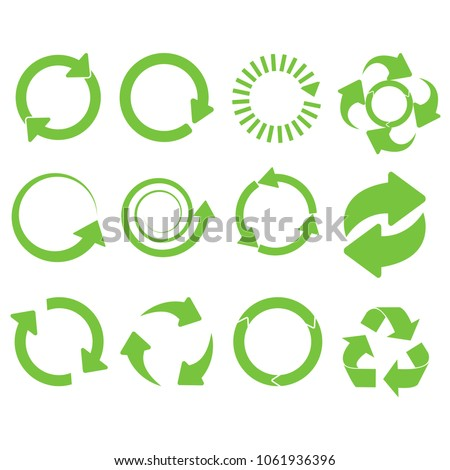 Green round recycle vector Collection of different icons isolated
