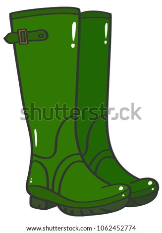 green rubber wellington boots