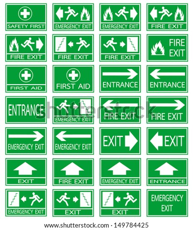 Green safety sign. Vector emergency exit signs set on green background