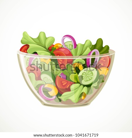 Green salad of fresh vegetables in a transparent salad bowl object isolated on a white background