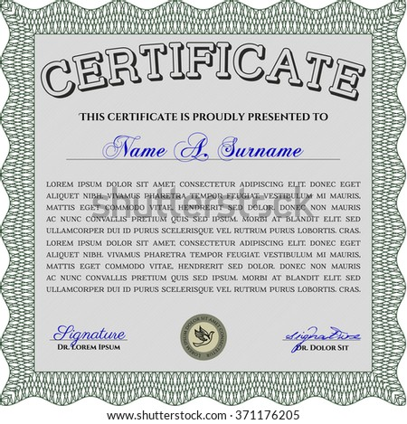 Green Sample Certificate. With linear background. Frame certificate template Vector. Modern design.