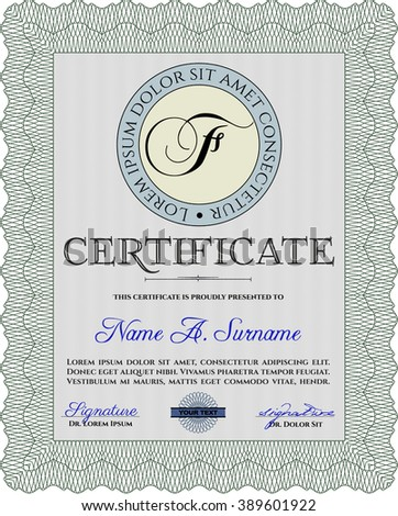Green Sample Diploma. With linear background. Frame certificate template Vector. Modern design.
