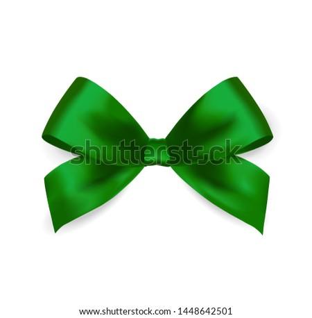 Green satin Bow. Satin bow for Saint Patrick's day, gift, surprise, christmas present, birthday