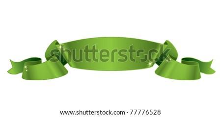 Green satin ribbon vector illustration