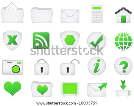 Green Satin web icons.  Other colours in my portfolio - stock vector