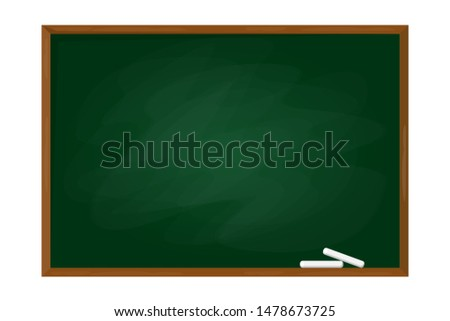Green school chalkboard in the frame vector isolated. Blank clasroom blackboard. Empty surface for your message. Education object. Template design.