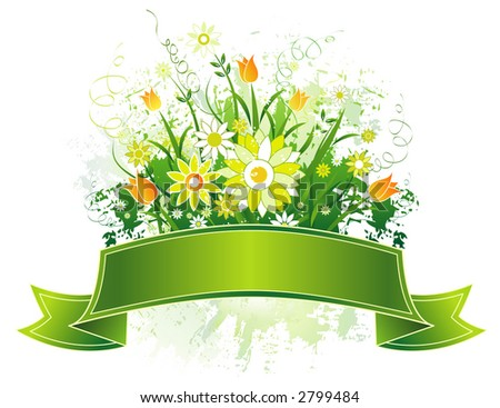 Green Scroll and yellow and white flowers on grunge background