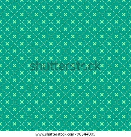 Green Seamless Geometric Pattern with Diamond  Shapes. Vector Illustration