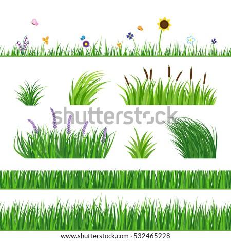 green seamless grass elemnts