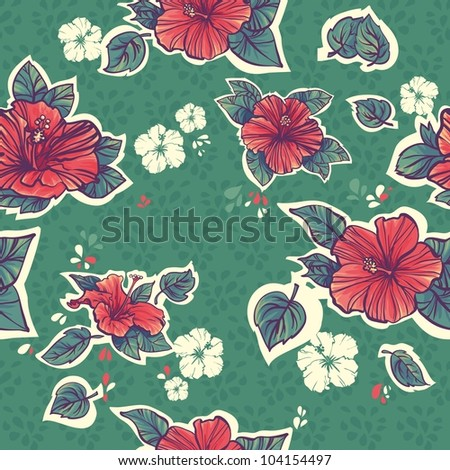 green Seamless hibiscus pattern. repeating floral pattern