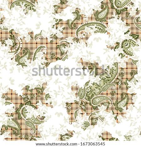 green seamless paisley pattern