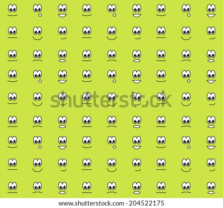 Green seamless pattern with different emotions - happy, sad, surprised, contended, angry, etc.