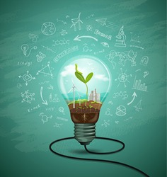 Green seedlings in a light bulb ecology concept design, sketching science background, vector illustration