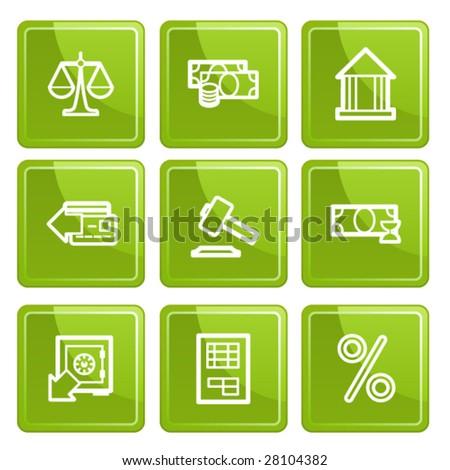Green senso finance icons set. Vector.