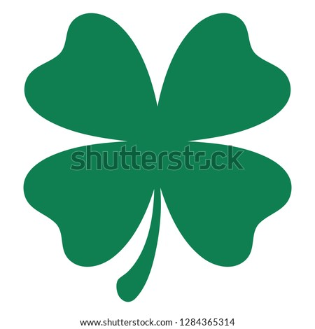Green shamrock clover vector icon. St Patrick day symbol, leprechaun leaf sign. Shamrock clover isolated, flat decorative element. Logo illustration.