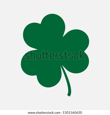 Green shamrock icon. Luck vector.