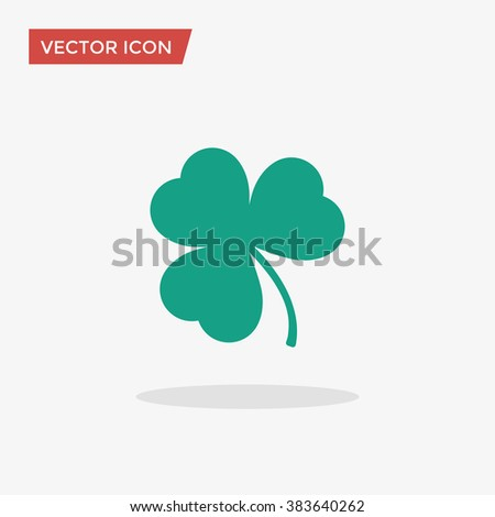 Green Shamrock leave icon in trendy flat style isolated on grey background. Happy patricks symbol for your web design, logo, app, UI. Vector illustration, EPS10.