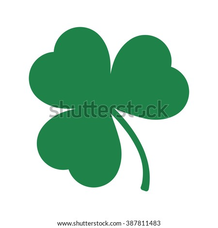 Green Shamrock leave icon in trendy flat style isolated on white background. Happy patricks symbol for your web design, logo, app, UI. Vector illustration, EPS10.
