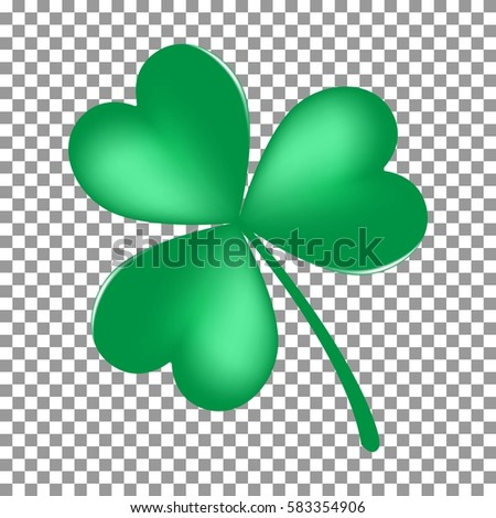 Green Shamrock leave icon isolated on transparent background. Happy patricks flat pictogram, irish symbol. Vector illustration.