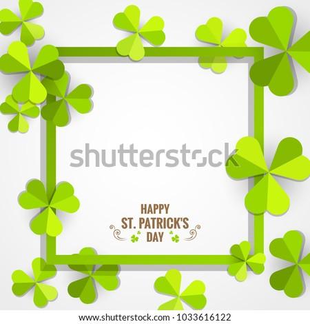 green shamrock paper frame for